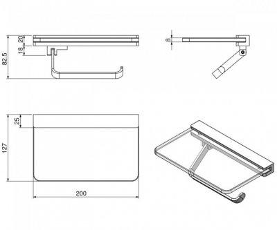 Тримач для туалетного паперу з поличкою матове скло VOLLE TEO хром (52804)