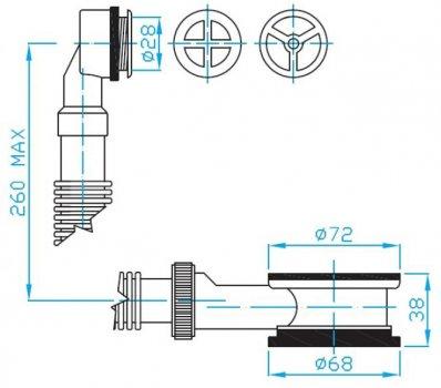 """Водослив для раковины PLAST BRNO 5/4"""" с круглой хромированной решеткой (EDL0031)"""
