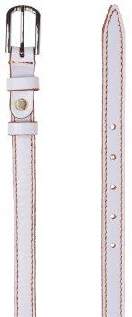 Женский ремень кожаный Sergio Torri 8-0006 85-95 см Белый с оранжевой строчкой (2000000014357)