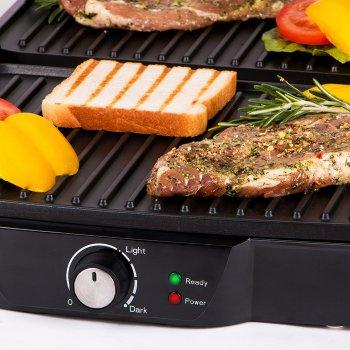 Електричний прижимний гриль-тостер, барбекю для м'яса, овочів, паніні закритий контактний 2000 Вт Сріблясто-чорний First (FA-5344-1)