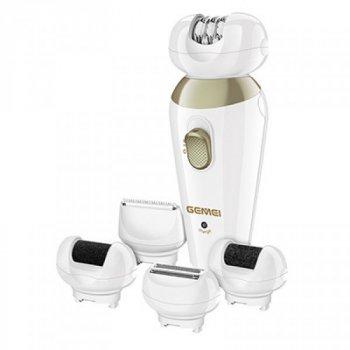 Эпилятор женский домашний 5 в 1 Gemei GM 7005 White аккумуляторный 3 Вт, 2 скорости, LED подсветка + бритва триммер для зоны бикини, пемза и подставка (45305 DIY)