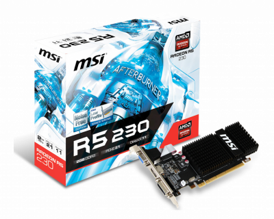 Видеокарта MSI Radeon R5 230 2Gb DDR3 64-bit VGA/DVI/HDMI 625/1066MHz Silent Low Profile (R5 230 2GD3H LP)