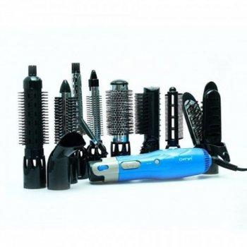 Мультистайлер повітряний для укладання волосся Gemei GM 4833S + 9 насадок Синій (10079)