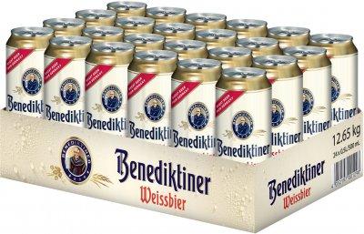 Упаковка пива Benediktiner светлое нефильтрованное 5.4% 0.5 л х 24 шт (4052197001298)