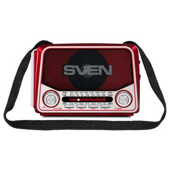 Портативный радиоприёмник SVEN SRP-525 (red) 3Вт, Li-Ion аккумулятор, USB, microSD,FM (23593)