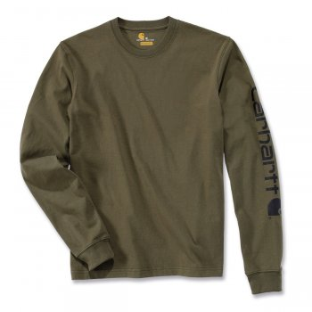 Футболка з довгим рукавом Carhartt Sleeve Logo T-Shirt L/S - EK231 Army Green