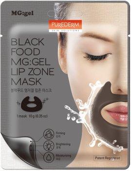 Маска питательная с черным комплексом для зоны вокруг рта Purederm Black Food MG:Under Eye Mask на тканевой основе с гелевой пропиткой 10 г (8809411189661)