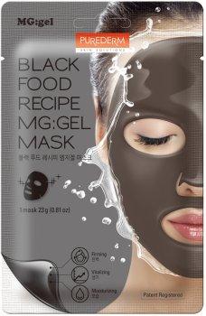 Маска питательная с черным комплексом для лица Purederm Black Food Recipe Gel Mask на тканевой основе с гелевой пропиткой 23 г (8809411189562)