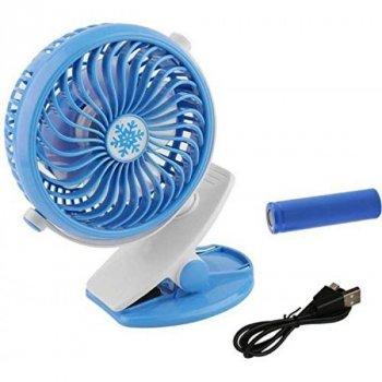 Переносний USB міні-вентилятор Mini Fan ML-F168 з акумулятором на прищіпці, синій