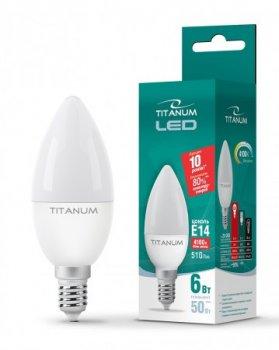 LED лампа TITANUM C37 6W E14 4100K 220V (ТL-C37-06144)