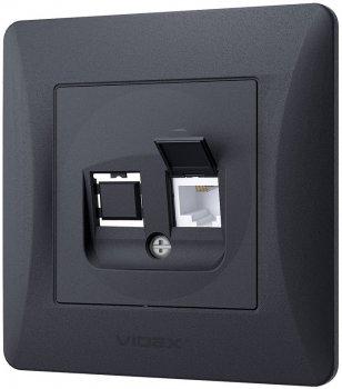 Розетка телефонна VIDEX Binera Чорний графіт (VF-BNSK1TF3-BG)