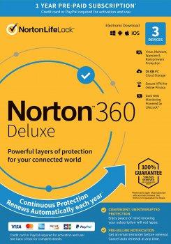 Антивірус Norton 360 Deluxe 25GB для 3 ПК на 1 рік ESD електронний ключ у конверті (21409592)