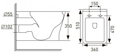 Унітаз підвісний VOLLE Leon Rimless 13-11-160 зі сидінням Slim Soft Close