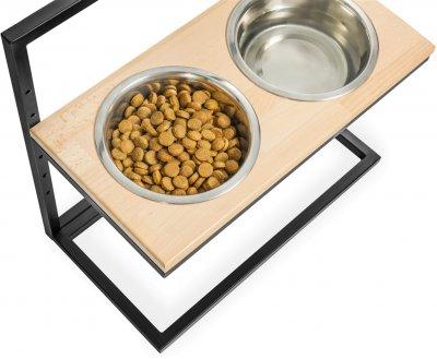 Підставка на дві миски для собак Harley and Cho Lift L 1.8 л 50 см Натуральна з чорним (3300165)