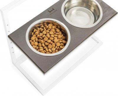 Підставка на дві миски для собак Harley and Cho Lift L 1.8 л 50 см Коричнева з білим (3300170)