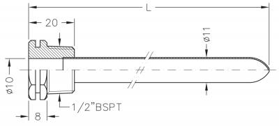 Заглибна гільза мідна для датчика температури 1/2, 10х11мм, L=300мм, один зонд