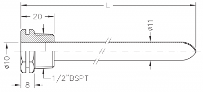 Заглибна гільза мідна для датчика температури 1/2, 10х11мм, L=250мм, один зонд