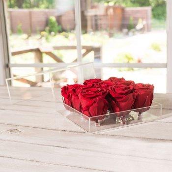 Стабилизированный бутон роза в коробке Lerosh - Standart, 9 шт., Красный