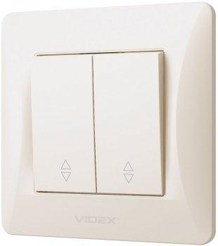 2-клавішний вимикач VIDEX Binera прохідний Кремовий (VF-BNSW2P-CR)