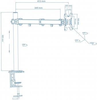 Настольное крепление для монитора Walfix Black (DM-300B)