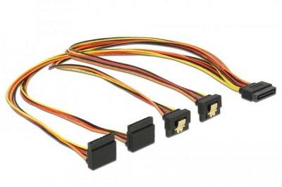 Кабель живлення внутрішній Delock SATA 15p 1x4 M/F 0.50m 2x90°вверх/2x90°вниз Latch різнобарвний(70.06.0155)