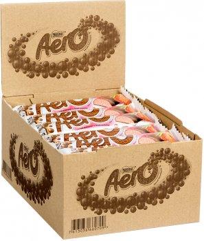 Упаковка батончиков NESTLE AERO Клубника шоколадных пористых молочных и белых 30 шт х 30 г (7613036660709)