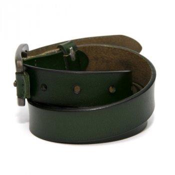Шкіряний вузький жіночий темно-зелений ремінь RGND-7172