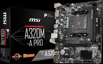 Мат. плата MB MSI A320M-A PRO (A320/sAM4/2xDDR4 3200(OC)/1xPCIе x16/1xPCIе x1/4xSATA3/RAID 0,1,10/GLan/HDMI, DVI, 4xUSB3.2, 2xUSB2.0/Audio 7.1Ch/mATX)