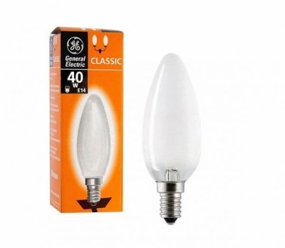 Лампа розжарювання свічка 40С1/F/E14 240V матова GE Угорщина