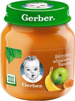 Фруктове пюре Gerber Яблуко-абрикос банан 130 г (12309151)
