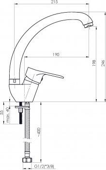 Кухонний змішувач RUBINETA Luka-33 LU30008