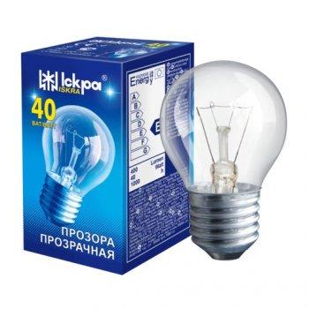 Лампа накаливания ЛЗП Іскра PS45 230B 40Вт Е27 прозрачная (Шар)