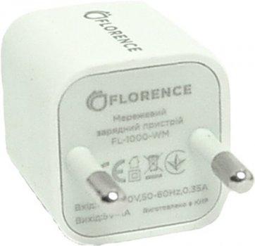Сетевое зарядное устройство Florence 1USB 1A + microUSB Cable White (FL-1000-WM)