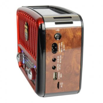 Радіо портативна колонка MP3 USB Golon з сонячною панеллю Golon RX-456S Solar Brown-Red