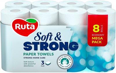 Паперові рушники Ruta Soft&Strong 87 відривів 3 шари 8 рулонів Білі (4820202891079_1)