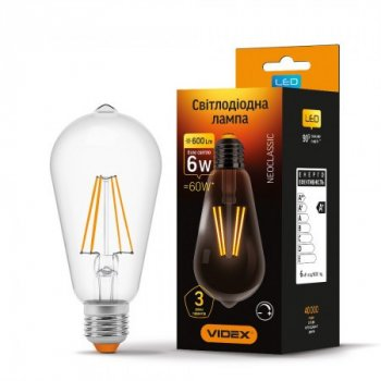 LED лампа VIDEX Filament ST64FD 6W 4100K E27 220V диммируемая