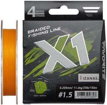 Шнур Favorite X1 PE 4x 150 м #1.5/0.205 мм 11.4 кг Оранжевый (16931122)