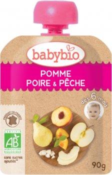 Упаковка дитячого пюре Babybio Органічного з яблука, груші та персика з 6 місяців 90 г х 4 шт. (3288131540115)