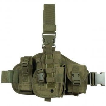 Кобура для пистолета набедренная с платформой и подсумками, правосторонняя MFH тёмно-зелёная (олива) (30713B)