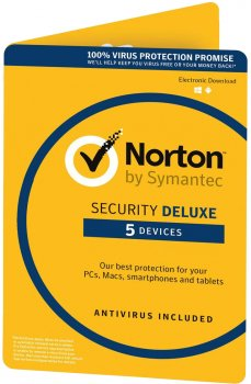 Антивірус Norton Security Deluxe 3.0 для 5 ПК на 2 роки ESD-електронний ключ у конверті (C4526679)