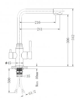 Змішувач кухонний з під'єднанням до фільтра MIXXEN Гриф MXIN0431