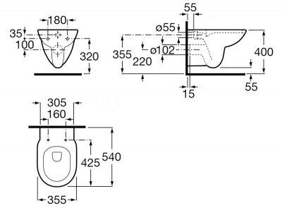 Унітаз підвісний ROCA Debba A34H996000 зі сидінням Soft Close дюропласт