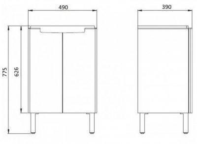 Тумба KOLO MODO (50) L39001 з умивальником білий глянець