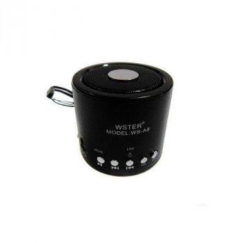 Колонка Міні портативна WSTER WS-A8 з MP3, USB, FM-радіо Чорна!