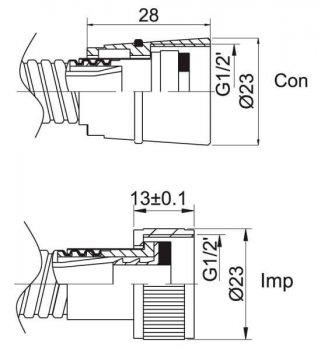 Шланг душевой RUBINETA PVC Biflex Con/Imp (BK) 150 cм 600039