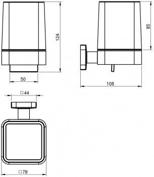 Дозатор для рідкого мила VOLLE Teo 15-88-422 з нижнім натискачем матове скло/хром