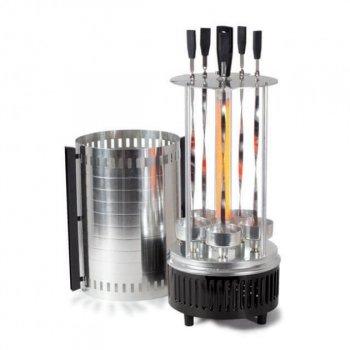 Электрошашлычница VilGrand V1005 1000 Вт для приготовления шашлыка, и различных других мясных, рыбных и овощных блюд, автоматическое вращение шампуров (8745W)