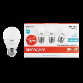 Лампа світлодіодна 7Вт G45 4100K E27 Гаусса LED Elementary (3 лампи в упаковці)