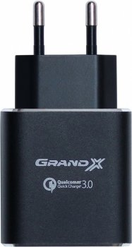 Зарядное устройство Grand-X Quick Charge QС3.0 3.6V-6.5V 3A, 6.5V-9V 2A, 9V-12V 1.5A USB Black (CH-750B)