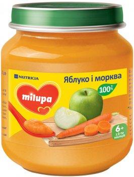 Упаковка фруктового пюре Milupa Яблуко та морква з 6 місяців 6 шт. х 125 г (8591119003829)